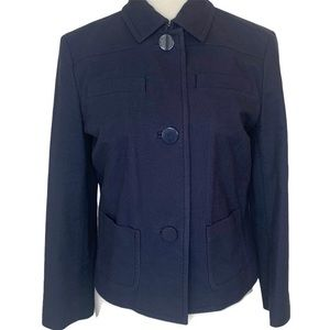 Brooks Brothers Navy Cropped Button Up Blazer